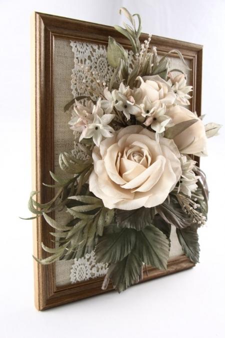 Винтажный букет из цветов ручной работы 17х22 см