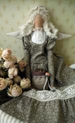 Тильда Фея утреннего латте Иветт (крылья в полосочку) 47 см