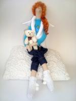 Тильда Анечка с мишкой - ангел-хранитель любви 38 см