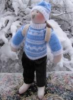 Заяц-олимпиец Шурик в голубом свитере 36 см