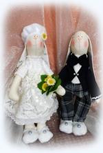Свадебная пара зайцев Иван и Даша 40 см
