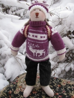 Заяц-олимпиец Макс в фиолетовом свитере 36 см