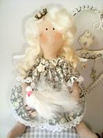 Принцесса на горошине Ева с птичкой 28 см