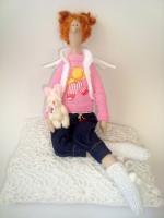 Тильда Сонечка с зайкой - ангел-хранитель любви 38 см