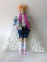 Фиона с мишкой - тильда-ангел современных девушек 38 см