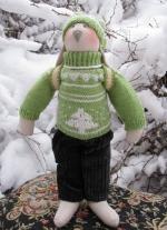 Заяц-олимпиец Женя в зеленом свитере 36 см