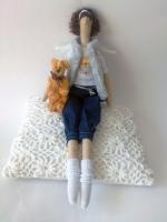 Тони с мишутокой - тильда-ангел современных девушек 38 см