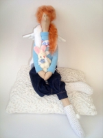 Тильда Маргарита с зайкой - ангел-хранитель любви 38 см